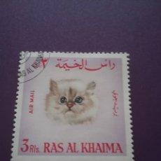 Sellos: SELLO RAS AL KHAIMA MTDO(+/- S. BISAGRA)/1967/CORREAEREOOGATOS/FELINOS/MAMIFEROS/ANIMALES/DOMESTICOS. Lote 254351040
