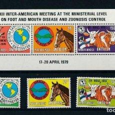 Sellos: ANTILLAS HOLANDESAS 1979 IVERT 575/7 Y HB 9 *** 12ª CONF. INTERAMERICANA CONTROL SANITARIO ANIMAL. Lote 254383935