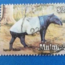 Sellos: MALASIA. YVERT 195. FAUNA. TAPIRUS INDICO. Lote 254408260