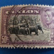 Sellos: SRI LANKA CEYLON. YVERT 247. FAUNA. MANADA DE ELEPHANT ELEFANTES. Lote 254416875