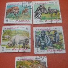 Sellos: SELLO FUJEIRA MTDOS(+/- S. BISAGRA)/1969/ANIMALES/SALVAJES/CEBRA/CHIMPANCE/PANTERA/GORILA/RINOCERONT. Lote 254524205