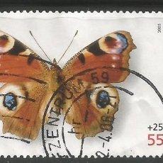 Sellos: ALEMANIA - 2005 - BIENESTAR - MARIPOSA CON BORDE LATERAL - PAVO REAL - MI: 2502 - USADO. Lote 255548635