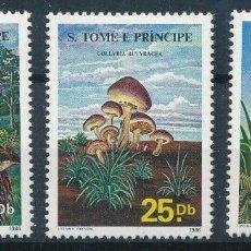 Sellos: SANTO TOME & PRINCIPE 1986 IVERT 835/7 *** FLORA - SETAS - CHAMPIÑONES. Lote 261584470