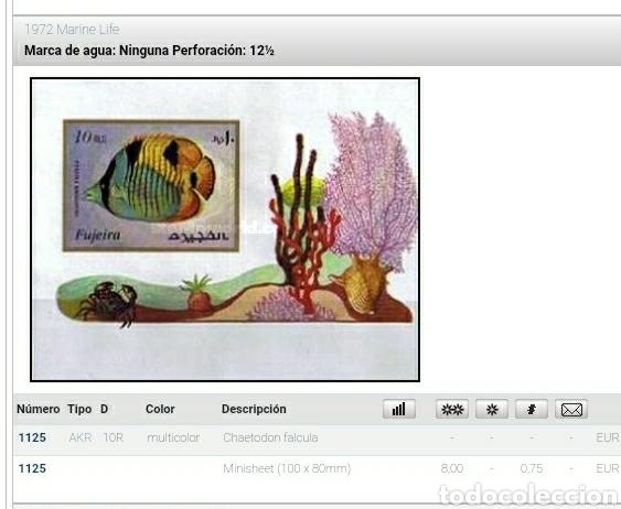 Sellos: HB Fujeira (E.A.U) mtdo/1972/vida/fauna/marina/peces/pescados/naturaleza/arrecife/coral/cangrejo/ - Foto 2 - 262288295