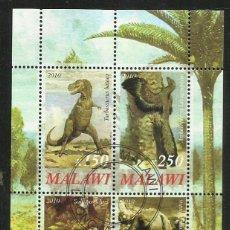 Sellos: MALAWI 2010 HOJA BLOQUE SELLOS FAUNA PREHISTORICA- DINOSAURIOS- DINOSAURS- DINOSAURIO. Lote 264848404