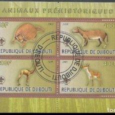 Sellos: DJIBOUTI 2009 HOJA BLOQUE SELLOS FAUNA PREHISTORICA - DINOSAURIOS- DINOSAURS- DINOSAURIO. Lote 264850354