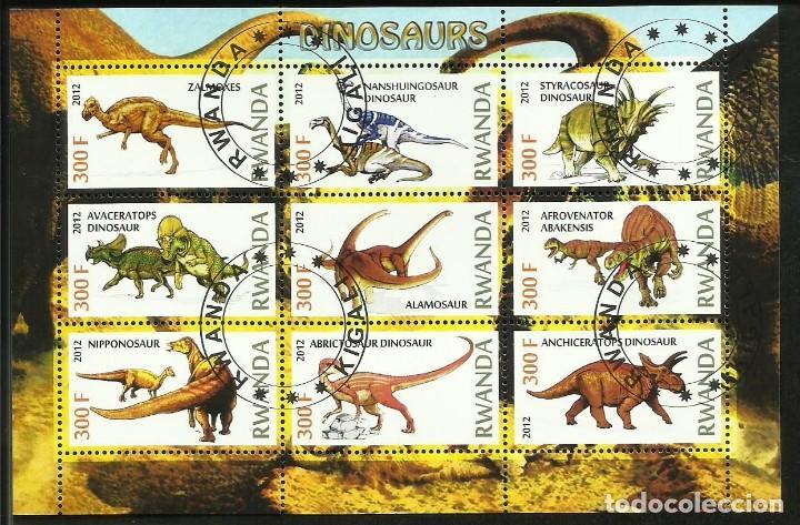 RUANDA 2012 HOJA BLOQUE SELLOS FAUNA PREHISTORICA - DINOSAURIOS- DINOSAURS- DINOSAURIO (Sellos - Temáticas - Fauna)