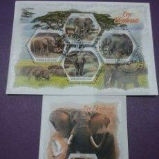 Sellos: HB COSTA MARFIL (COTE D,IVOIRE) MTDOS/2018/ANIMALES/FAUNA/AFRICANA/ELEFANTE/FLORA/SABANA/MANADA/NAT/. Lote 269154573