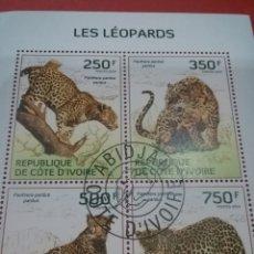 Sellos: HB COSTA MARFIL (COTE D,IVOIRE) MTDOS/2014/FAUNA/ANIMALES/SALVAJES/LEOPARDO/GUEPARDO/FELINO/PANTERA/. Lote 269284563