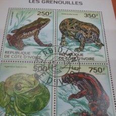 Sellos: HB COSTA MARFIL (COTE D,IVOIRE) MTDOS/2014/FAUNA/ANIMALES/SALVAJES/RANA/SAPO/GECO/RENACUAJO/AGUA/. Lote 269285468