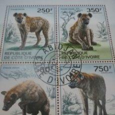 Sellos: HB COSTA MARFIL (COTE D,IVOIRE) MTDOS/2014/FAUNA/ANIMALES/SALVAJES/YENAS/DEPREDADOR/CARROÑERO/MAMIFE. Lote 269287738