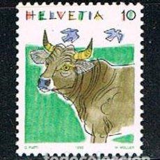 Sellos: SUIZA IVERT 1389, VACA, NUEVO. Lote 269296318