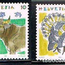 Sellos: SUIZA IVERT 1389/90, VACA Y PAVO, NUEVO, SERIE COMPLETA. Lote 269296838