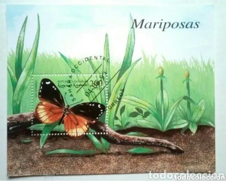 MARIPOSAS HOJA BLOQUE DE SELLOS USADOS DE SAHARA OCCIDENTAL (Sellos - Temáticas - Fauna)