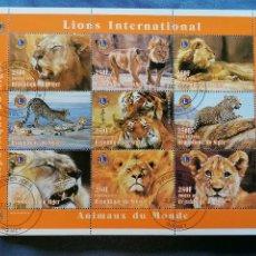 Sellos: LEONES Y TIGRES AFRICANOS NIGERIA SERIE 9 SELLOS EN HB SELLOS USADOS. Lote 270207208