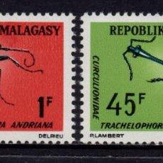 Sellos: MADAGASCAR 420/21** - AÑO 1966 - FAUNA - INSECTOS. Lote 271416943