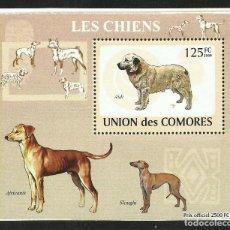 Sellos: UNION DE COMORES 2009 HOJA BLOQUE SELLOS FAUNA PERROS- CANES- CHIENS. Lote 276061103