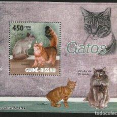 Sellos: GUINEA 2010 HOJA BLOQUE SELLOS FAUNA GATOS DE ASIA- FELINOS- CATS- CHATS- GATO. Lote 276069558