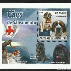 Sellos: SANTO TOME Y PRINCIPE 2008 HOJA BLOQUE SELLOS FAUNA PERROS DE SALVAMENTO- CAN- SAN BERNARDO. Lote 276075698