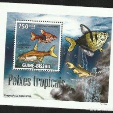Sellos: GUINEA 2009 HOJA BLOQUE SELLOS FAUNA MARINA- PECES TROPICALES- PEIXES-. Lote 276077193