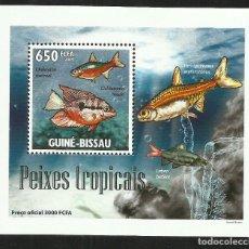 Sellos: GUINEA 2009 HOJA BLOQUE SELLOS FAUNA MARINA- PECES TROPICALES- PEIXES-. Lote 276077358
