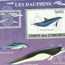 Sellos: UNION DE COMORES 2009 HOJA BLOQUE SELLOS FAUNA MARINA CETACEOS- DELFINES- DELFIN. Lote 276136298