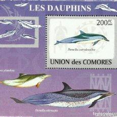 Sellos: UNION DE COMORES 2009 HOJA BLOQUE SELLOS FAUNA MARINA CETACEOS- DELFINES- DELFIN. Lote 276136823