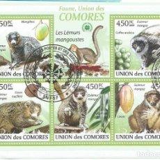 Timbres: HOJA BLOQUE DE ISLAS COMORES LEMURS. Lote 276319143