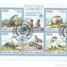 Timbres: HOJA BLOQUE DE ISLAS COMORES LEONES MARINOS. Lote 276322603