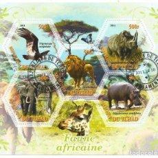 Timbres: HOJA BLOQUE DE TCHAD FAUNA AFRICANA. Lote 276337953