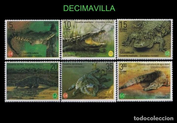 FAVR435, CUBA, FAUNA , COCODRILOS, 2020, SERIE Y HOJA-BLOQUE (Sellos - Temáticas - Fauna)