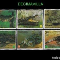 Sellos: FAVR435, CUBA, FAUNA , COCODRILOS, 2020, SERIE Y HOJA-BLOQUE. Lote 277032083