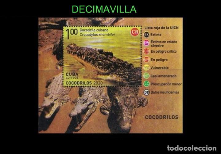 Sellos: FAVR435, CUBA, FAUNA , COCODRILOS, 2020, SERIE Y HOJA-BLOQUE - Foto 2 - 277032083