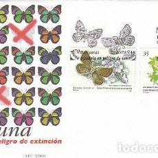 Sellos: EDIFIL 3694/5, FAUNA EN PELIGRO DE EXTINCION: MARIPOSAS, PRIMER DIA DE 31-1-2000 SFC. Lote 277821018