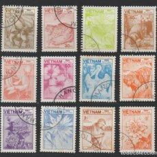 Sellos: VIETNAM 1984 FAUNA Y FLORA 12 SELLOS USADOS * LEER DESCRIPCION. Lote 278271253