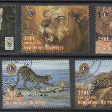 Selos: NIGER 1998 ANIMALES FELINOS 5 SELLOS USADOS * LEER DESCRIPCION. Lote 278282033