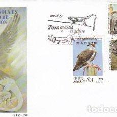 Sellos: EDIFIL 3614/6, FAUNA EN PELIGRO DE EXTINCIÓN (AGUILA PESCADORA, LAGARTO DE, PRIMER DIA 28-1-1999 SFC. Lote 278386978