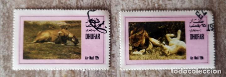 2 SELLOS USADOS DE DHUFAR LEONES FAUNA (Sellos - Temáticas - Fauna)