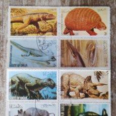 Sellos: OMAN ANIMALES PREHISTÓRICOS 1980 - 8 SELLOS EN HOJA SELLADOS. Lote 278534928