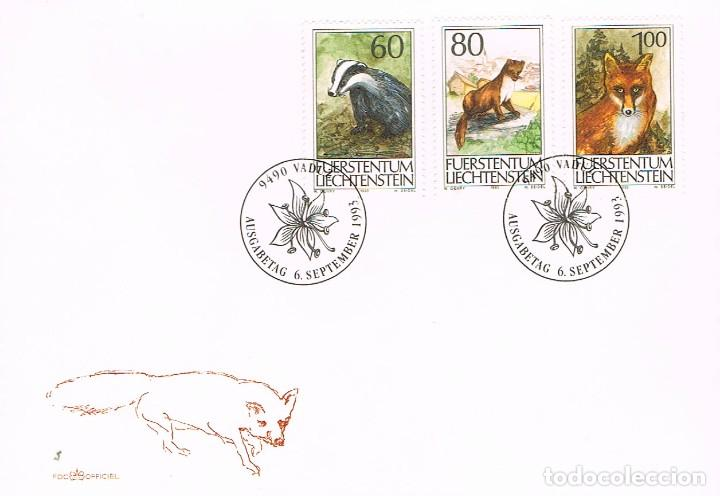 LIECHTENSTEIN IVERT 1007/9, ANIMALES DE CAZA, PRIMER DIA DE 6-9-1993 (Sellos - Temáticas - Fauna)