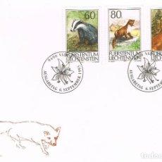 Sellos: LIECHTENSTEIN IVERT 1007/9, ANIMALES DE CAZA, PRIMER DIA DE 6-9-1993. Lote 278588638