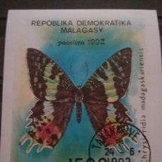 Sellos: HB MADAGASCAR (MADAGASIKARA) MTDOS SIN DENTAR/1992/MARIPOSA/POLILLA/INSECTO/FAUNA/ANIMALES/. Lote 278595628