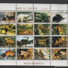 Sellos: EMIRATOS ARABES BLOC 16 SELLOS USADOS ANIMALES SALVAJES * LEER DESCRIPCION. Lote 279360283