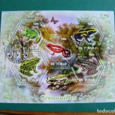 Timbres: HOJA BLOQUE DE TCHAD RANAS. Lote 285671593