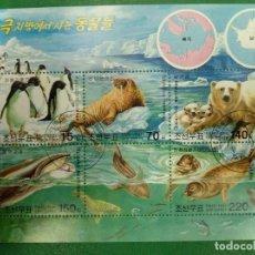 Sellos: COREA DEL NORTE 2003.ANIMALES DEL ÁRTICO Y LA ANTÁRTIDA. MI:KP BL559,. Lote 286243688