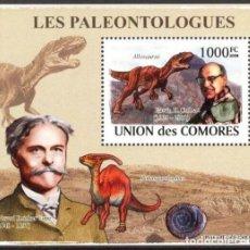 Timbres: UNION DE COMORES 2008 HOJA BLOQUE SELLOS PALEONTOLOGOS Y FAUNA PREHISTORICA- DINOSAURIOS- DINOSAURIO. Lote 287263638
