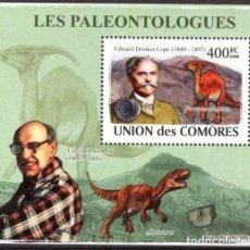 Timbres: UNION DE COMORES 2008 HOJA BLOQUE SELLOS PALEONTOLOGOS Y FAUNA PREHISTORICA- DINOSAURIOS- DINOSAURIO. Lote 287263673