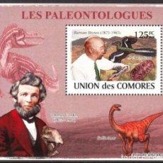 Timbres: UNION DE COMORES 2008 HOJA BLOQUE SELLOS PALEONTOLOGOS Y FAUNA PREHISTORICA- DINOSAURIOS- DINOSAURIO. Lote 287263793