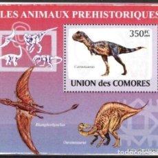 Timbres: UNION DE COMORES 2009 HOJA BLOQUE SELLOS FAUNA PREHISTORICA- DINOSAURIOS- DINOSAURS- DINOSAURIO. Lote 287264243