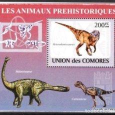 Timbres: UNION DE COMORES 2009 HOJA BLOQUE SELLOS FAUNA PREHISTORICA- DINOSAURIOS- DINOSAURS- DINOSAURIO. Lote 287264278